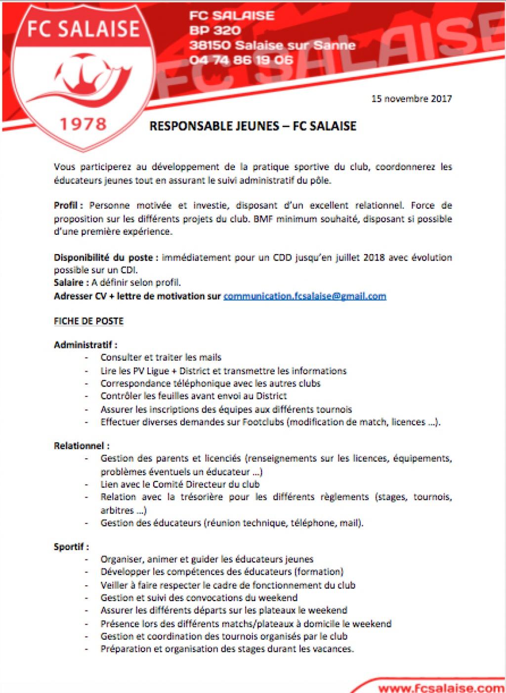 offre d u0026 39 emploi - responsable jeunes
