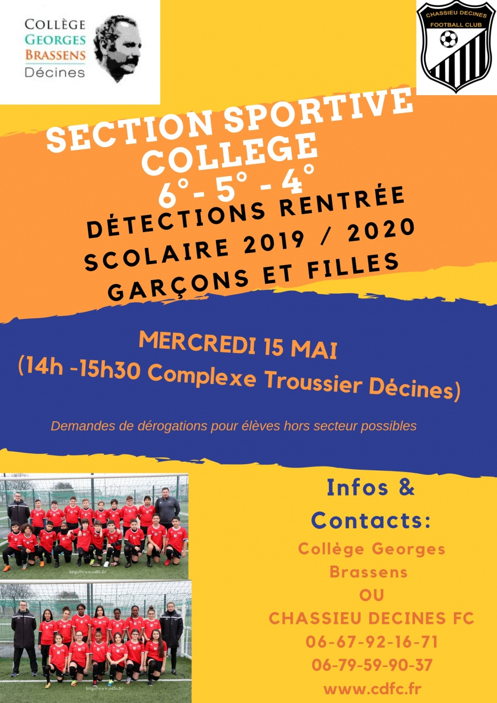 Détection section sportive College Brassens Décines