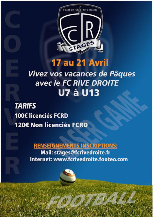 Stage Pâques - Le FC RIVE DROITE organise