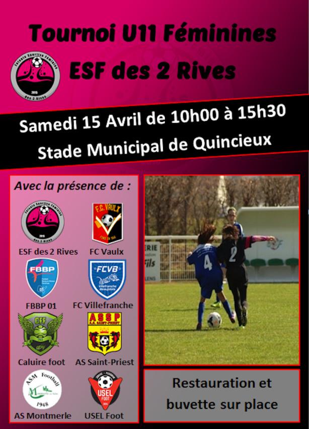 Féminine - Tournoi U11 au FC RIVE-DROITE samedi