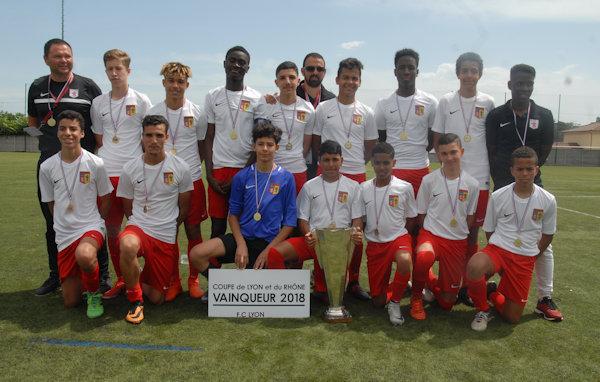 FC Lyon C, vainqueur de la Coupe du Rhône U15 2018