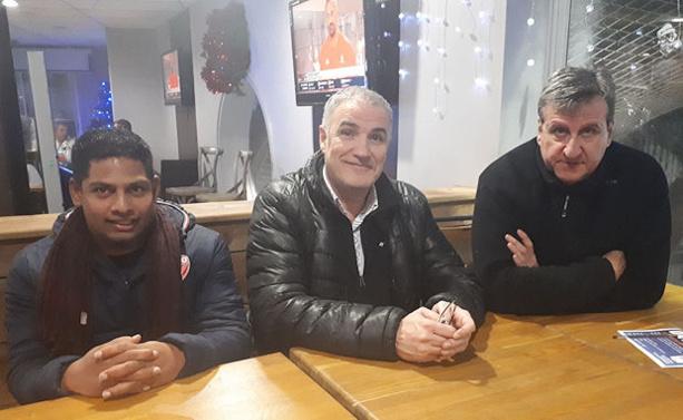 Simon Massol (salarié club et co-entraîneur équipe fanion), Patrick Pinti (président) et Thierry Marchand (co-entraîneur équipe fanion)