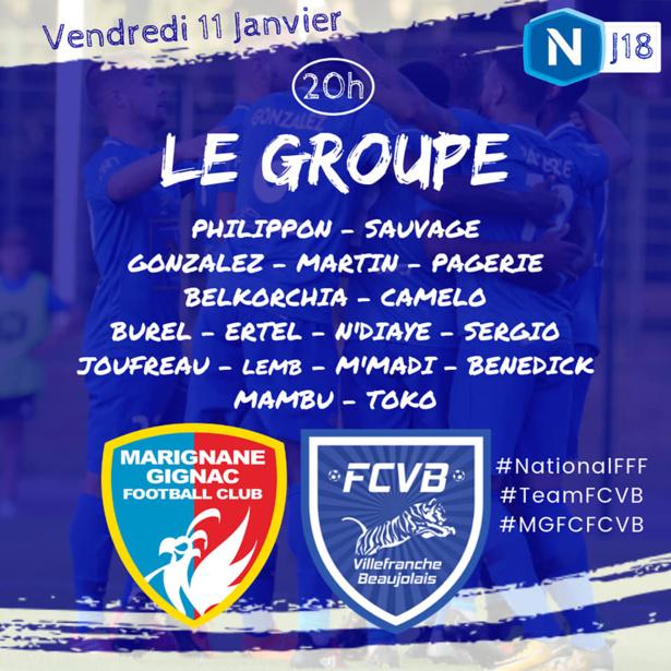 FC Villefranche - Le GROUPE pour le déplacement à MARIGNANE-GIGNAC