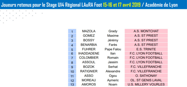 Détection U14 - Les joueurs convoqués pour le stage REGIONAL et DEPARTEMENTAL