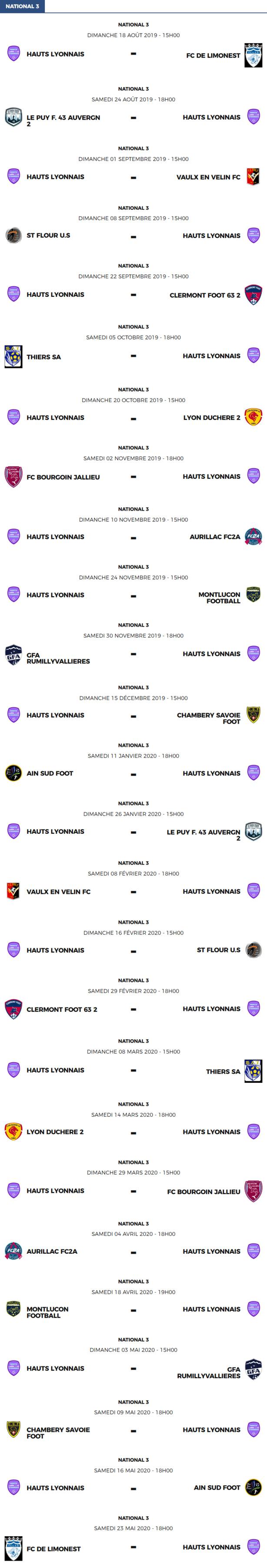 National 3 - Le calendrier des matchs de Hauts Lyonnais