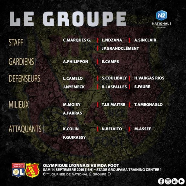 MDA Foot : le groupe contre la réserve de l'Olympique Lyonnais