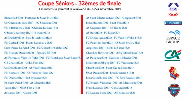 Découvrez le tirage des 32e de finale de la coupe de Lyon et du Rhône Séniors et de la coupe Vial