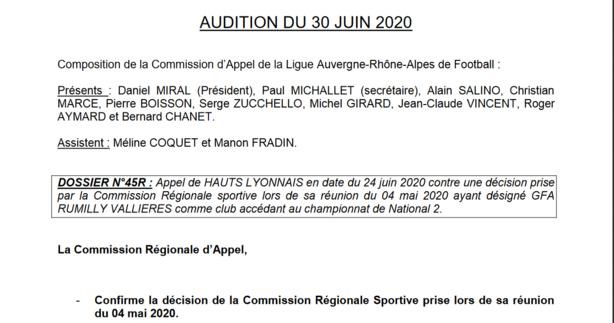 L'appel de Hauts-Lyonnais rejeté