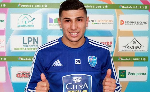 Yanis Merdji, auteur de deux buts pour ses grands débuts comme titulaire en Ligue 2 avec le Football Bourg-en-Bresse Agglomération 01