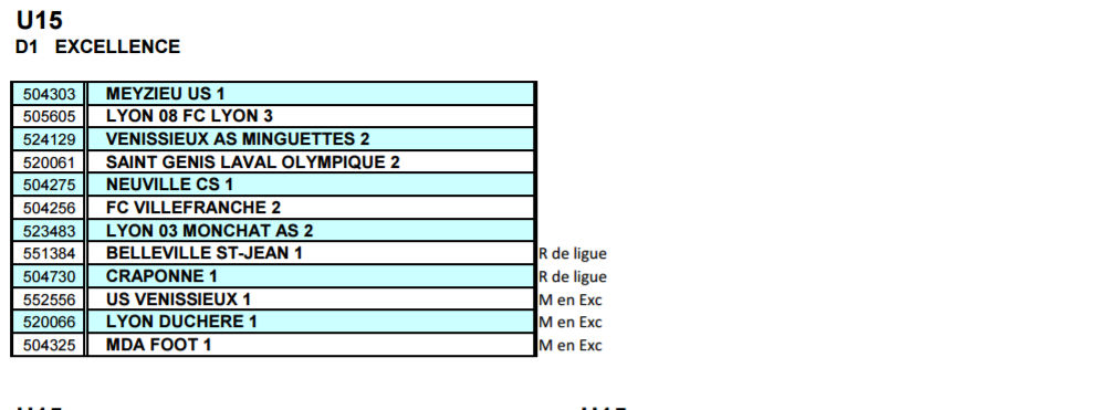 En direct du District - Découvrez la Poule U15 D1 (Excellence)