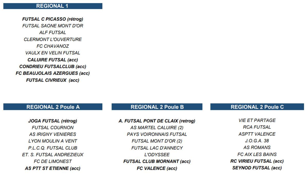 FUTSAL - Découvrez les POULES de LIGUE 2018-2019, FS CIVRIEUX et MDA Futsal en R1 !