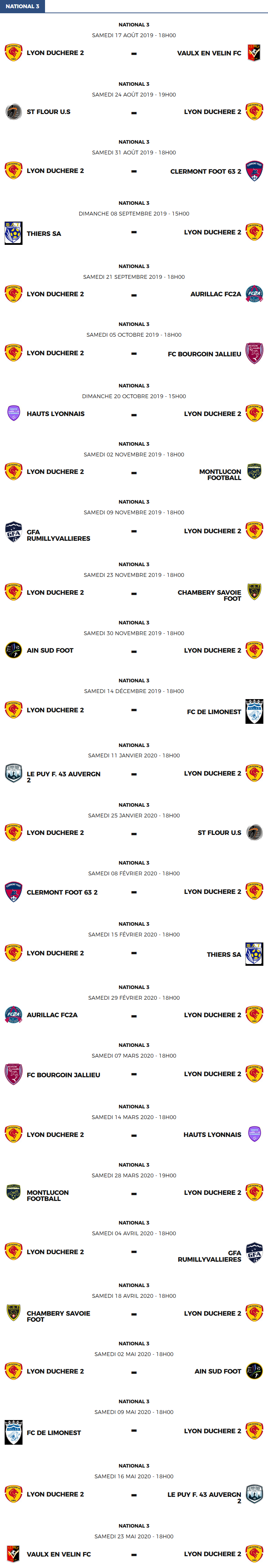 National 3 - Le calendrier des matchs de la réserve de Lyon Duchère AS