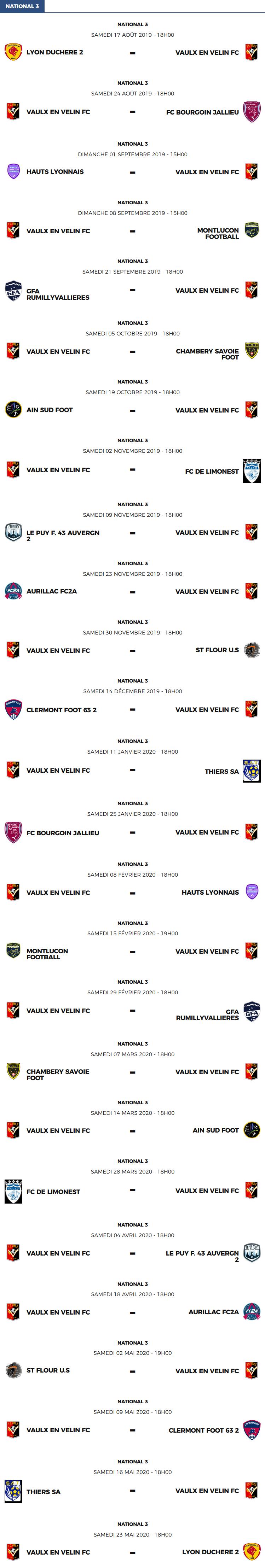 National 3 - Le calendrier des matchs du FC Vaulx-en-Velin