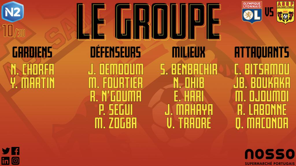 Olympique Lyonnais B - AS Saint-Priest : les groupes