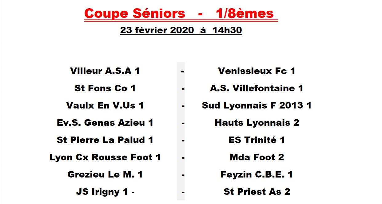 Les affiches des 8èmes de finale de la coupe de Lyon et du Rhône