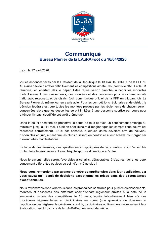 La Ligue AURA communique suite à l'arrêt des championnats : on se dirige bien vers une adaptation du nombre de poules !