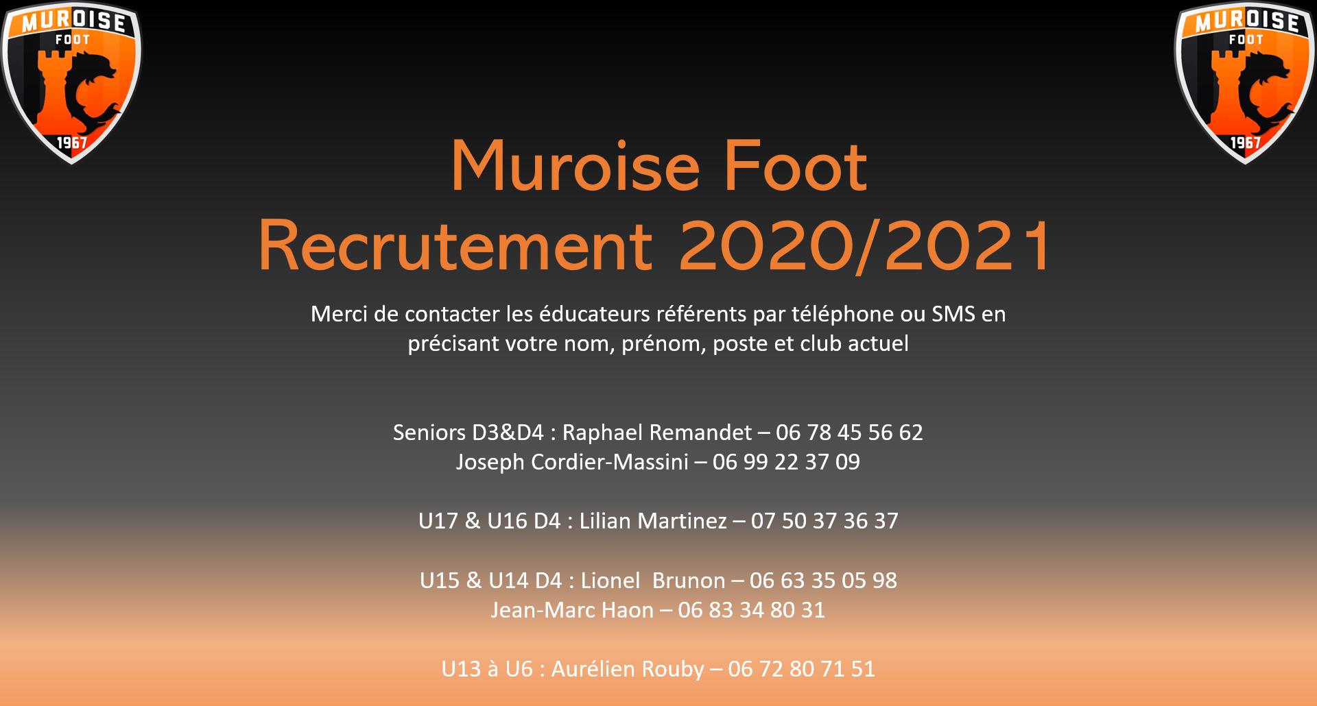 Recrutement Muroise Foot pour la saison 2020-2021