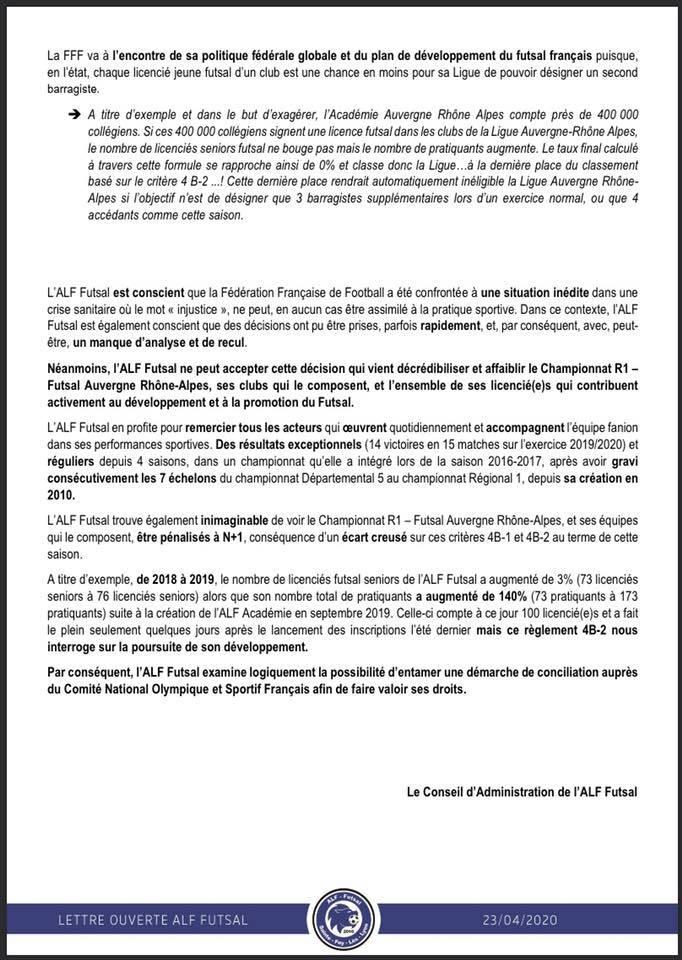 """Privé d'accession en D2 ALF Futsal envisage """"une démarche de conciliation auprès du CNOSF"""" pour faire valoir ses droits"""