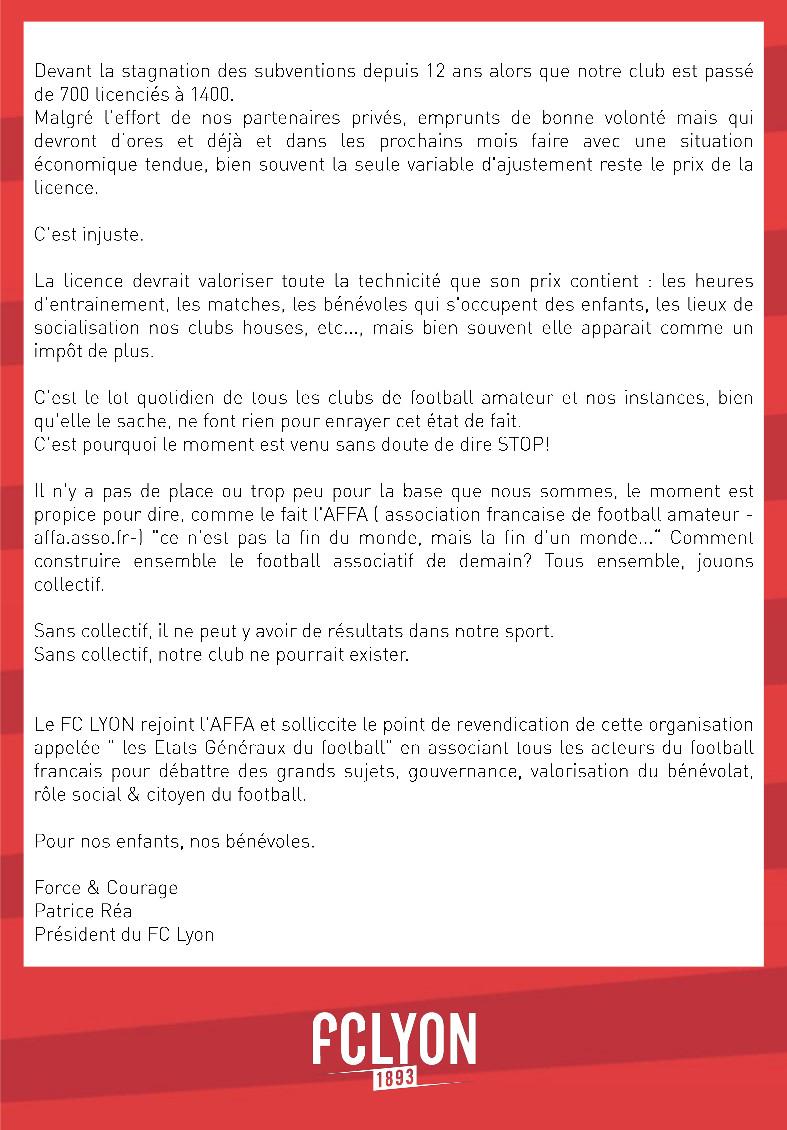 """""""Le moment est venu de dire STOP"""" pour le FC Lyon"""