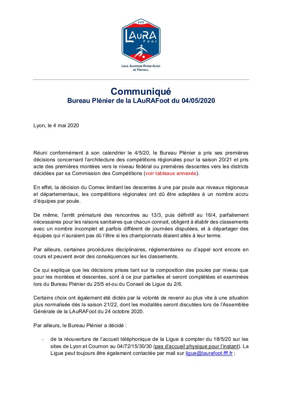 La LAURA Foot communique ses décisions pour les championnats régionaux