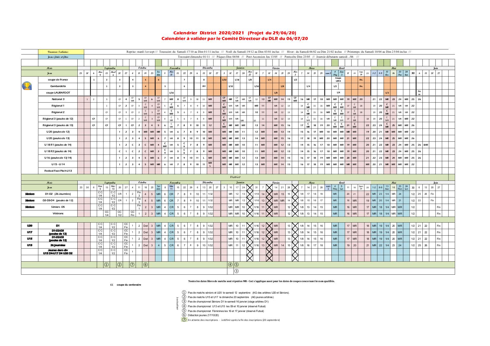 Découvrez le calendrier des compétitions Ligue et District