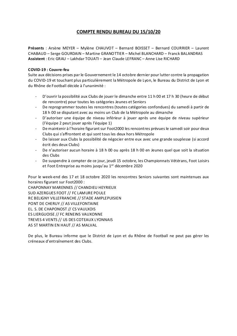 Les décisions du District du Rhône suite au couvre feu