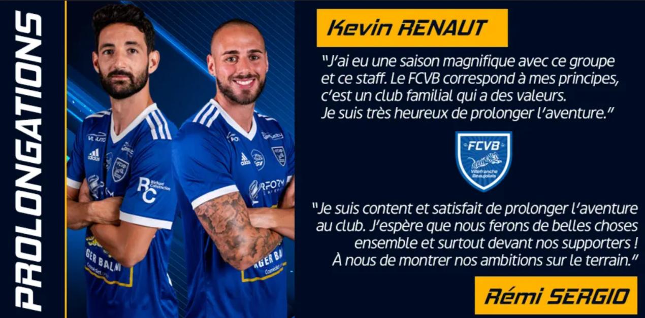 Deux joueurs prolongés au FC Villefranche Beaujolais